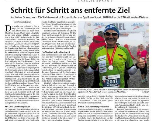 Ein Bericht über unseren Ultraläufer Kalle in der Esslinger Zeitung vom 27.05.2021
